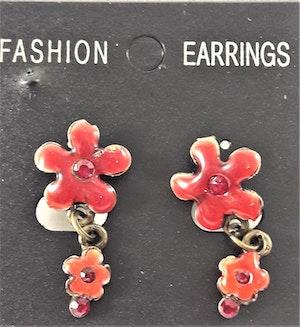 Emaljerade Örhängen i Form av Blommor och Strass Röd
