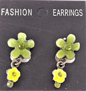 Emaljerade Örhängen i Form av Blommor och Strass Grön