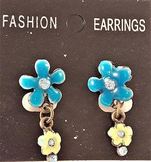 Emaljerade Örhängen i Form av Blommor och Strass Blå/Grön