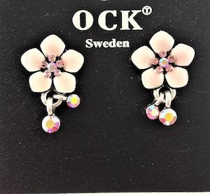 Emaljerade Örhängen i Form av Blommor och Strass Rosa
