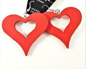 Örhängen i Trä med Hjärta Röd