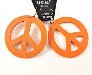 Örhängen i Trä med Peacemärke Orange
