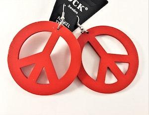 Örhängen i Trä med Peacemärke Röd