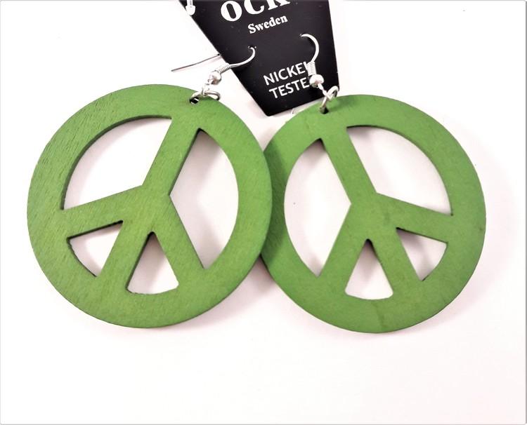 Örhängen i Trä med Peacemärke Grön