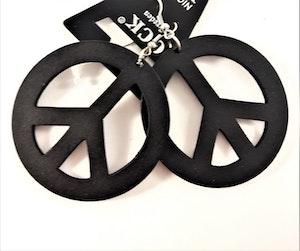 Örhängen i Trä med Peacemärke Svart