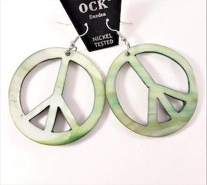 Örhängen av Snäckskal med Stort Peacemärke Grön