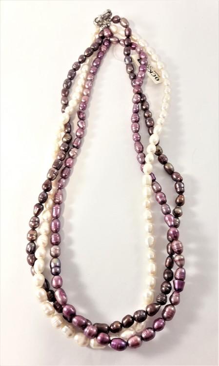 Set med treradigt halsband och armband med pärlor i Brunt, Lila och Vitt
