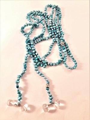 Öppet Halsband med Små Pärlor Blå