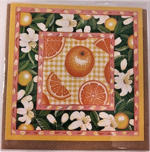 Fyrkantigt grattiskort med apelsiner, utan text