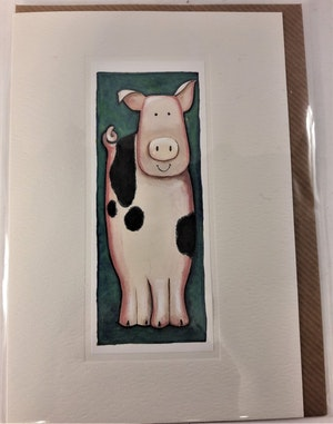 Handgjort grattiskort med grismotiv, utan text
