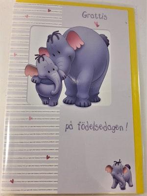 Grattiskort med elefantmotiv, utan text