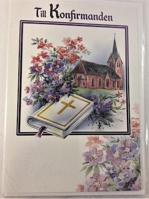"""Grattiskort """"Till Konfirmanden"""", motiv med kyrka"""