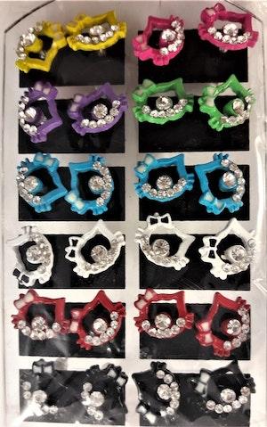 Karta med 12 Par Öppna Örhängen med Hello Kitty-motiv