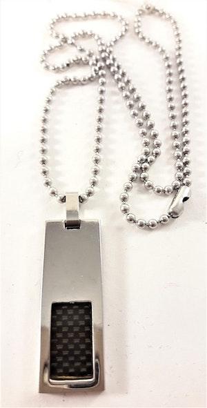 Halsband med Avlångt Hänge Silverfärg och Svart