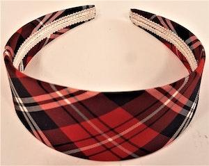 Diadem i skotskrutigt rött