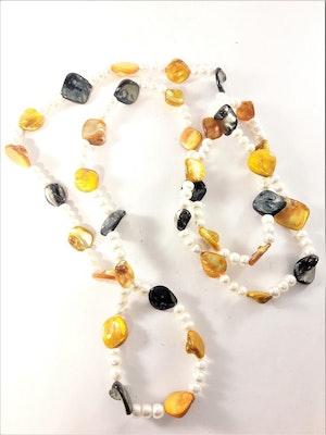 Långt Halsband med Pärlor och Stenar Orange, Vit och Grå