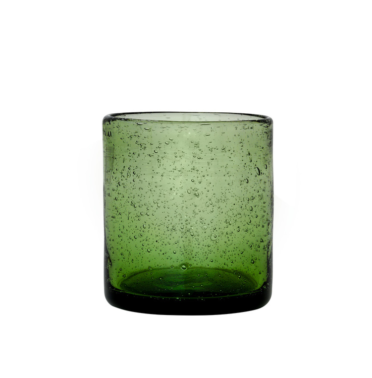 Ljuslykta grön munblåst glas. Cozy Living