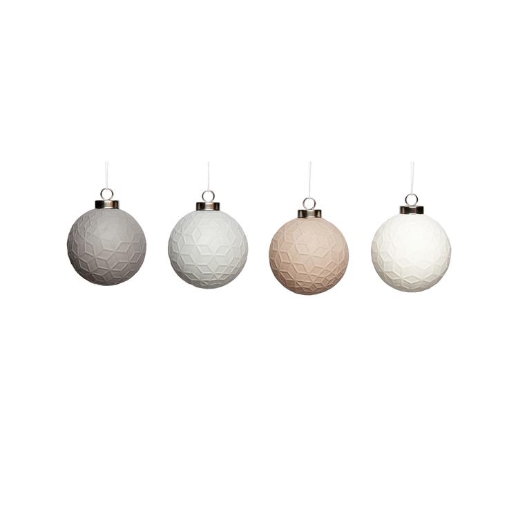 Julkulor i keramik. 4-pack. Hübsch