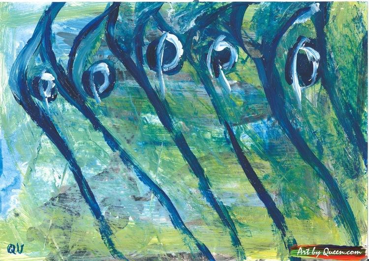 Fem gröna skarvar