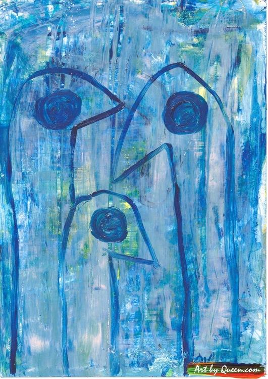 Tre blåa skarvar