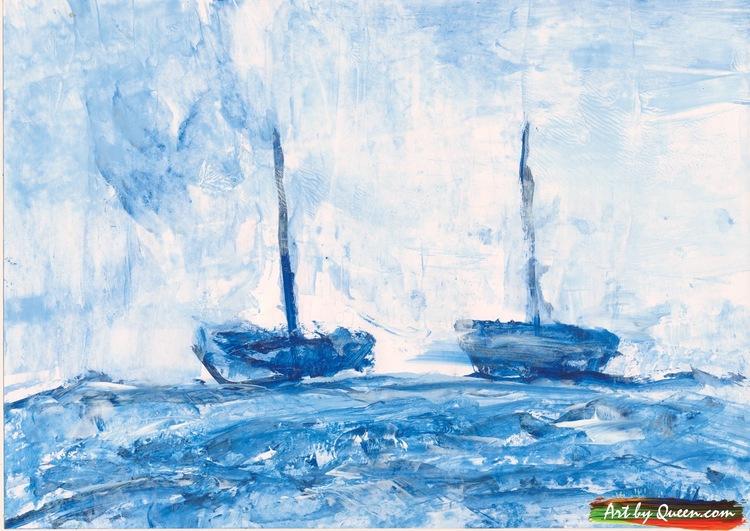 Två båtar på blåa havet