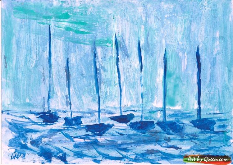 Sju blå segelbåtar