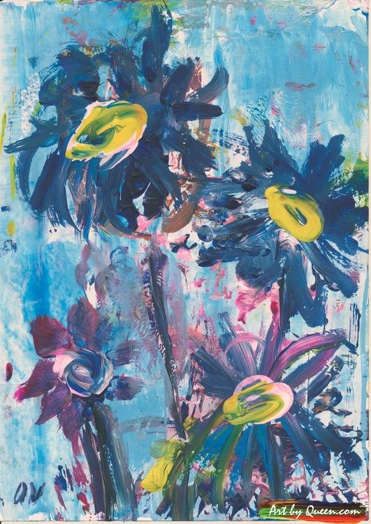 Fyra blå blommor