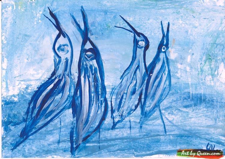 Fyra söta tranor