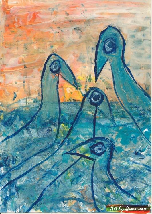 Fyra turkosa skarvar över havet