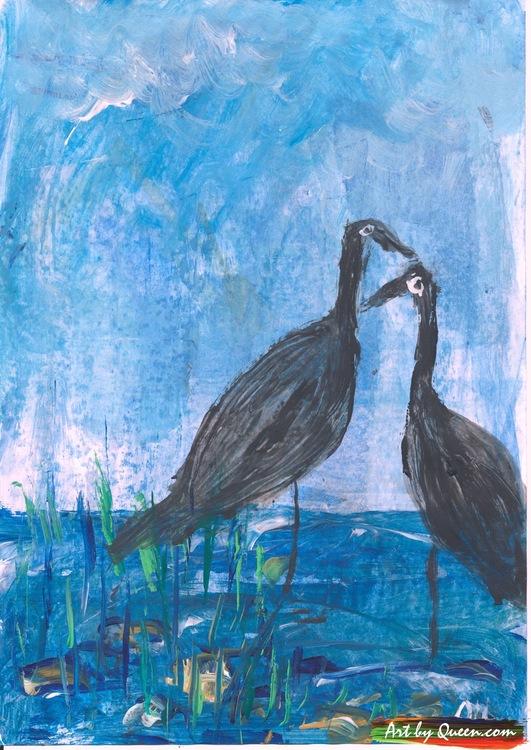 Två svarta tranor vid sjön