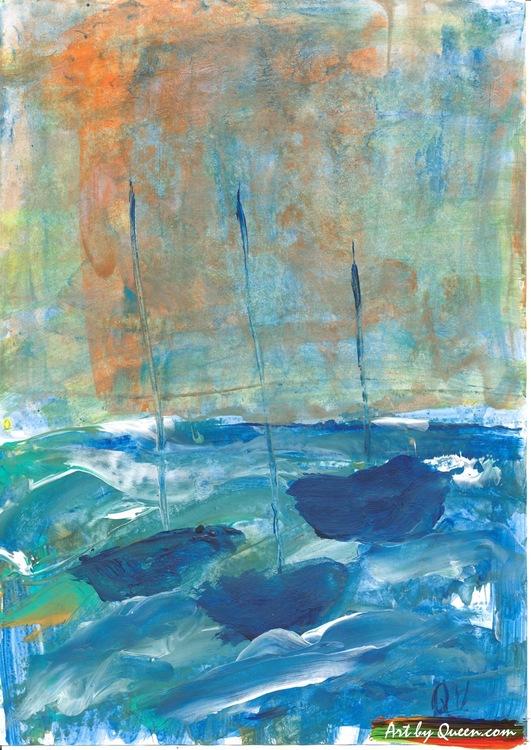Tre blå båtar seglar