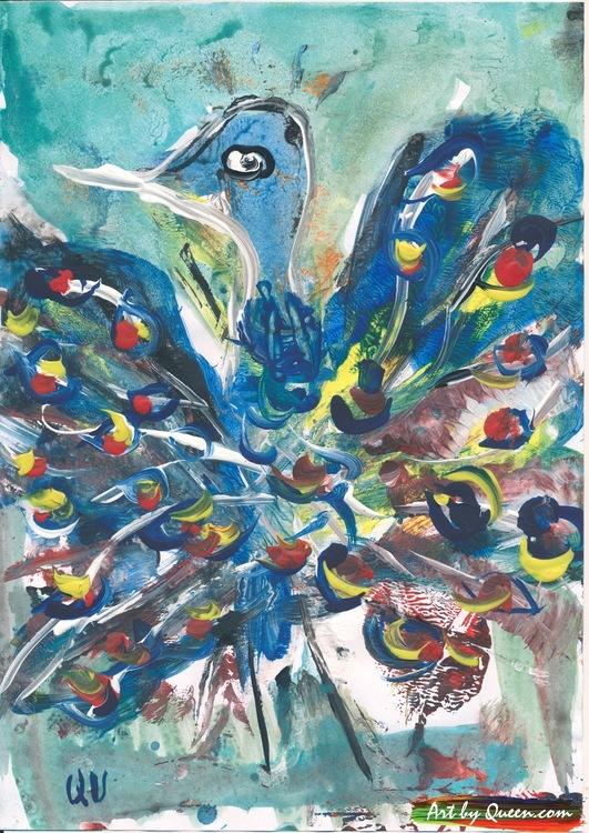 Dansande blå påfågel