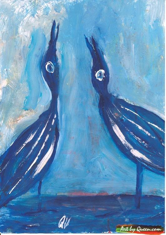 Två blå tranor sjunger