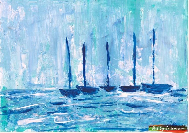 Fem blå segelbåtar