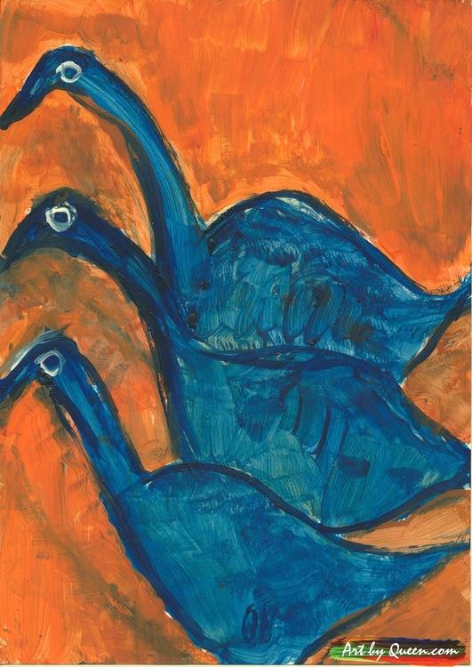 Tre söta blå tranor