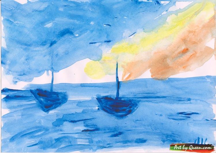 Tre seglande båtar på havet