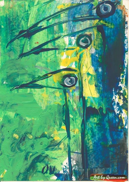 Tre grönblåa skarvar