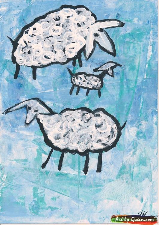 Två får med sitt lamm