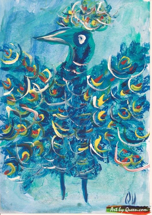 Påfågel i blå klänning