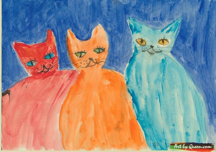 Tre glada katter