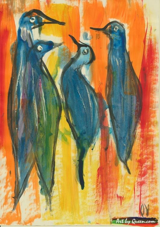 Fyra kvittrande fåglar