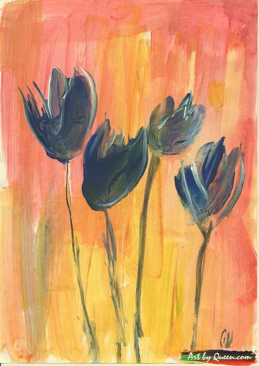 Fyra blå tulpaner