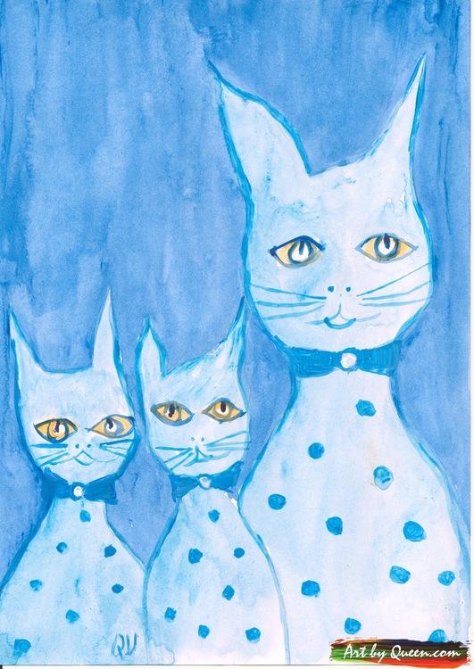 Kattmamman med två katter
