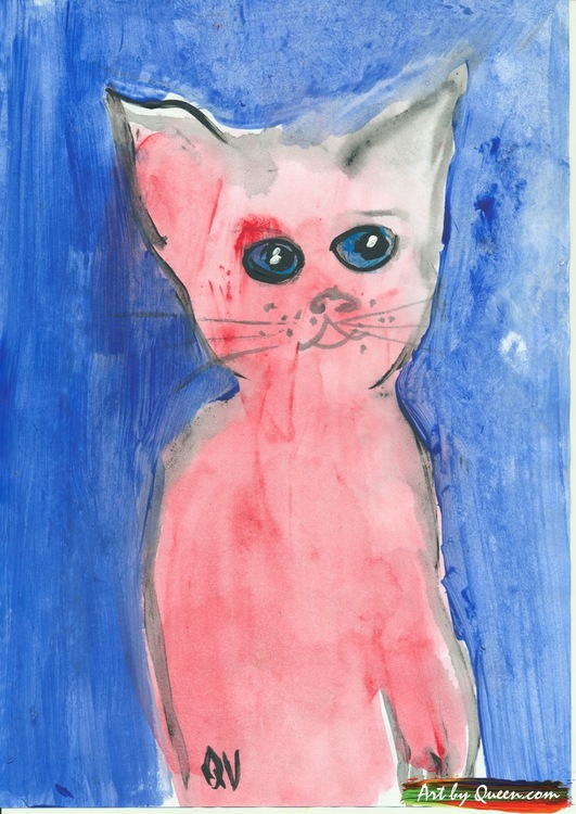 En gullig katt i rosa