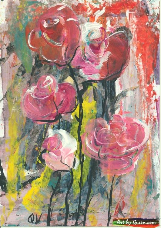 Fem vackra rosor