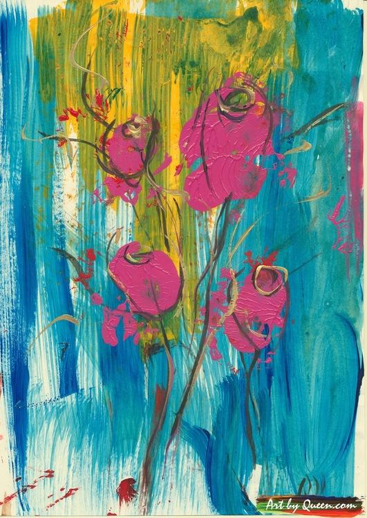 Fyra rosor i sin blom