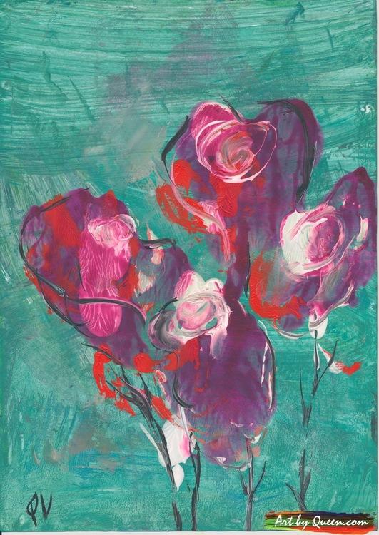 Rosor och tulpaner blommar