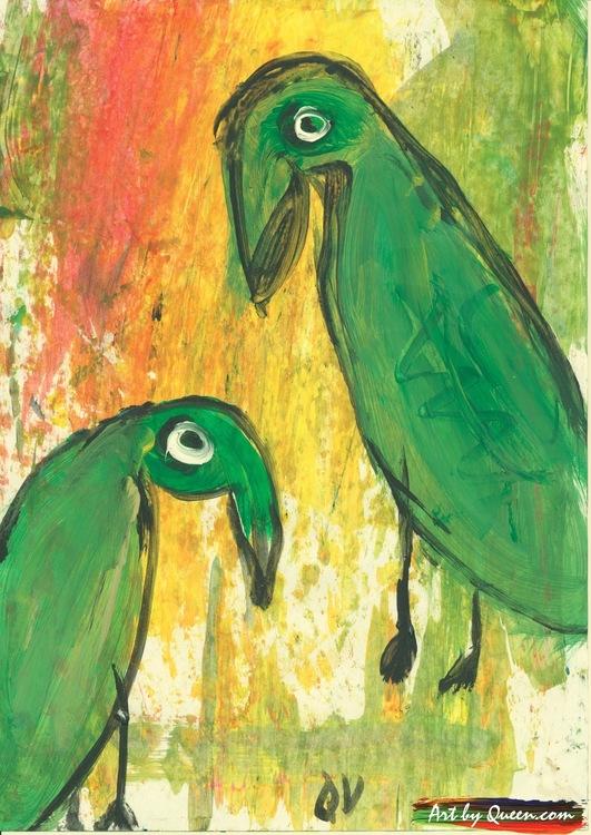 Två gröna papegojor