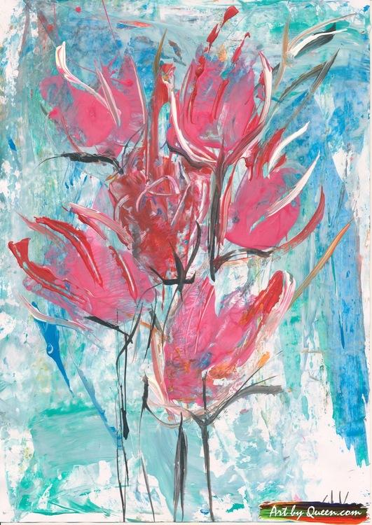 Sex blommande tulpaner