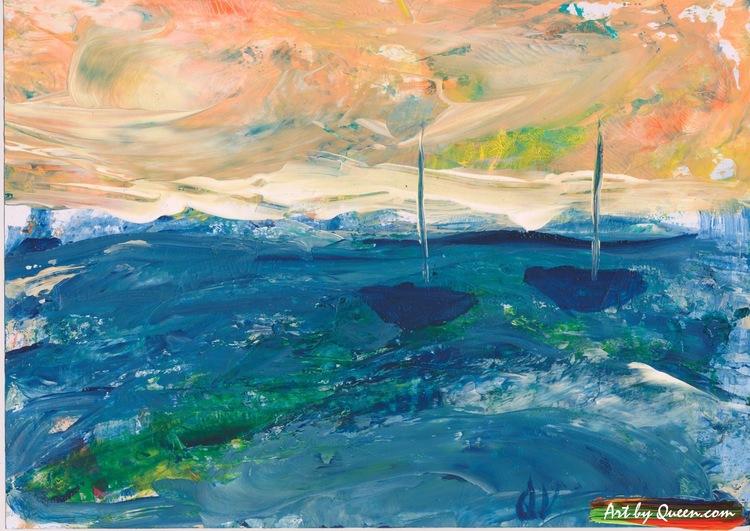 Blå hav och två segelbåtar